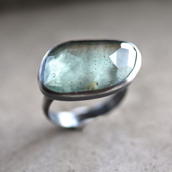 Moss Aquamarine Ring, Watery Sage Green Rose Cut Stone Oxidized Sterling Silver Ring March Birthstone Aquamarine Jewelry - Size 6.5 - Siren