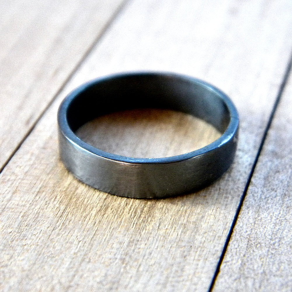 unisex oxidized silver ring simple flat 4mm band oxidized