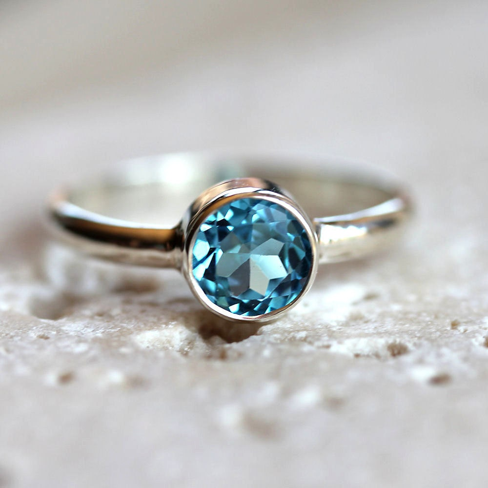 Blue Topaz Stone : Swiss blue topaz ring faceted aqua gemstone bright