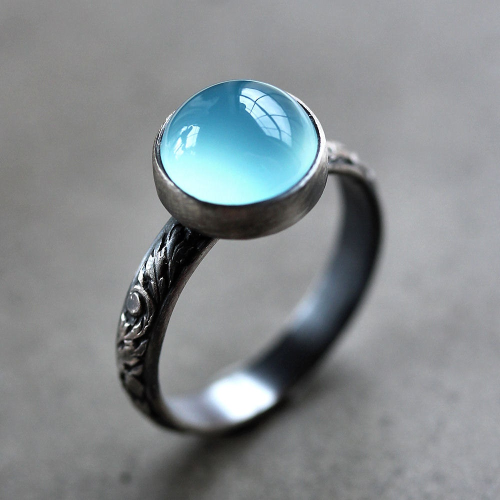 Aqua Chalcedony Ring Ice Blue Chalcedony Oxidized Sterling