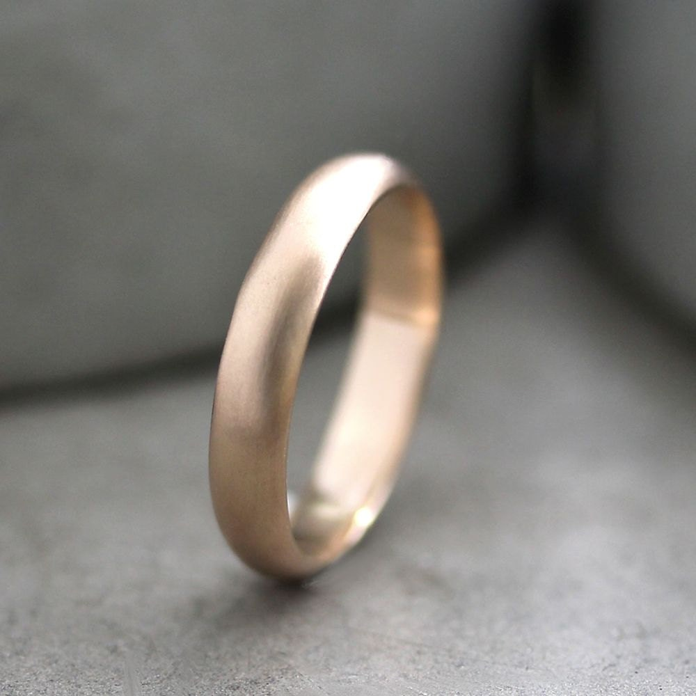 Mens Gold Wedding Band 4mm Half Round Recycled Metal 14k