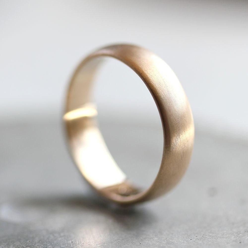 Mens Gold Wedding Band 5mm Brushed Half Round 14k