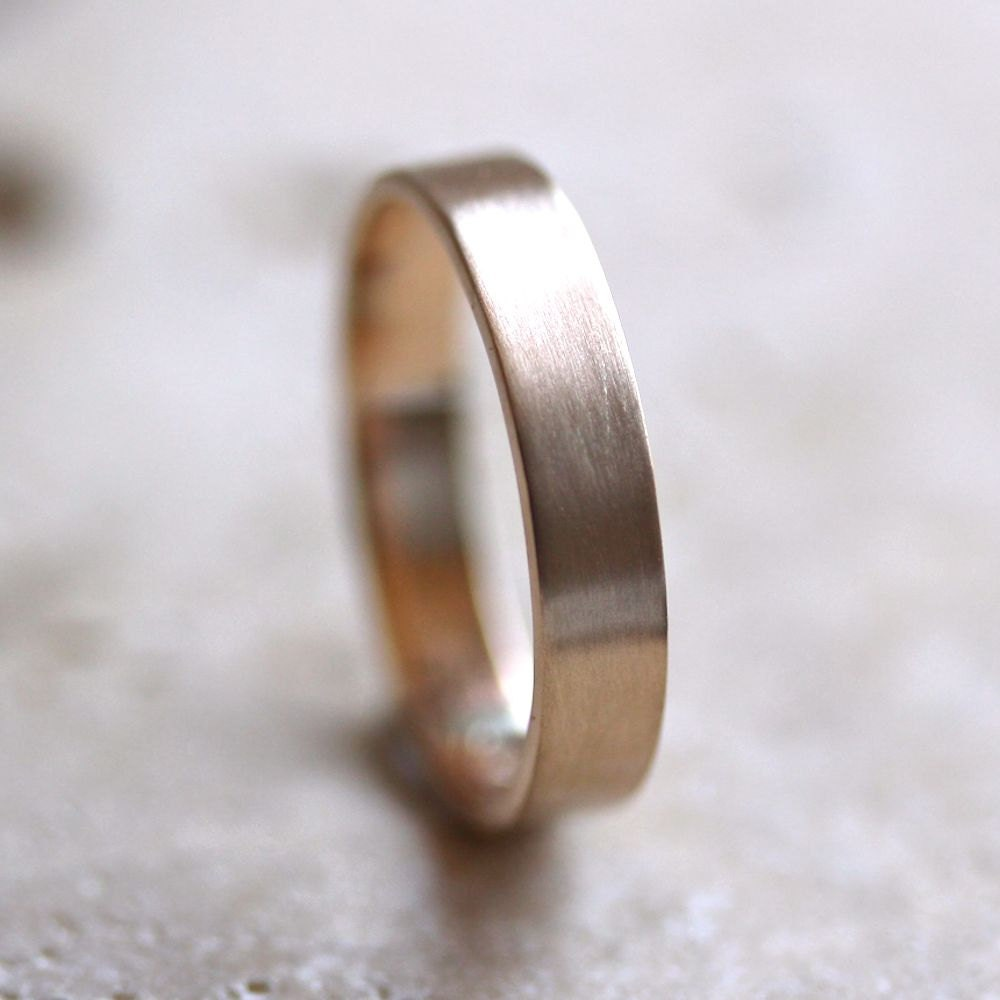 Mens Gold Wedding Band Unisex 4mm Brushed Flat 14k