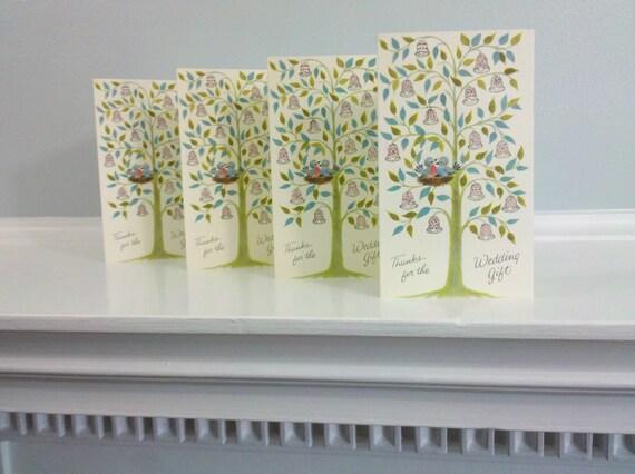 Set of 4 - Vintage Unused Wedding Gift Thank You Cards - Love Birds & Wedding Bells