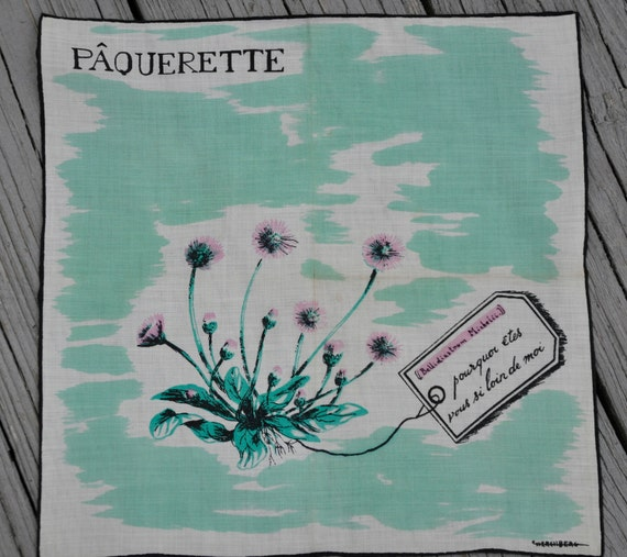 French Linen Handkerchief - Daisy with Love Note - Paquerette - Vintage