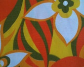 VINTAGE FLOWER FABRIC Orange, Yellow & Green Fabric