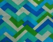 VINTAGE GEOMETRIC FABRIC Green, Blue & Tan Abstract Fabric