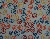 VINTAGE FABRIC Blue, Red, Orange, Yellow & White Abstract Circles