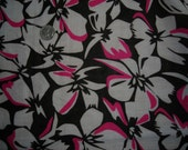 VINTAGE VOILE FABRIC Beautiful White Pink & Black Floral