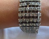 VINTAGE RHINESTONE BRACELET Beautiful Bracelet 6 3/4 inches length 6 Rows of Shimmering Rhinestones