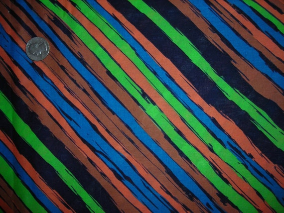 VINTAGE STRIPED FABRIC Vibrant Blue, Green, Orange, Brown & Black Fabric