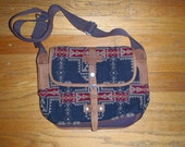 Sale - New Pendleton Blanket Camera Bag with Handmade Leather Luggage Tag