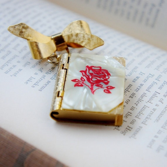 Bow and Book Vintage  Brooch (Secret Hiding Place)