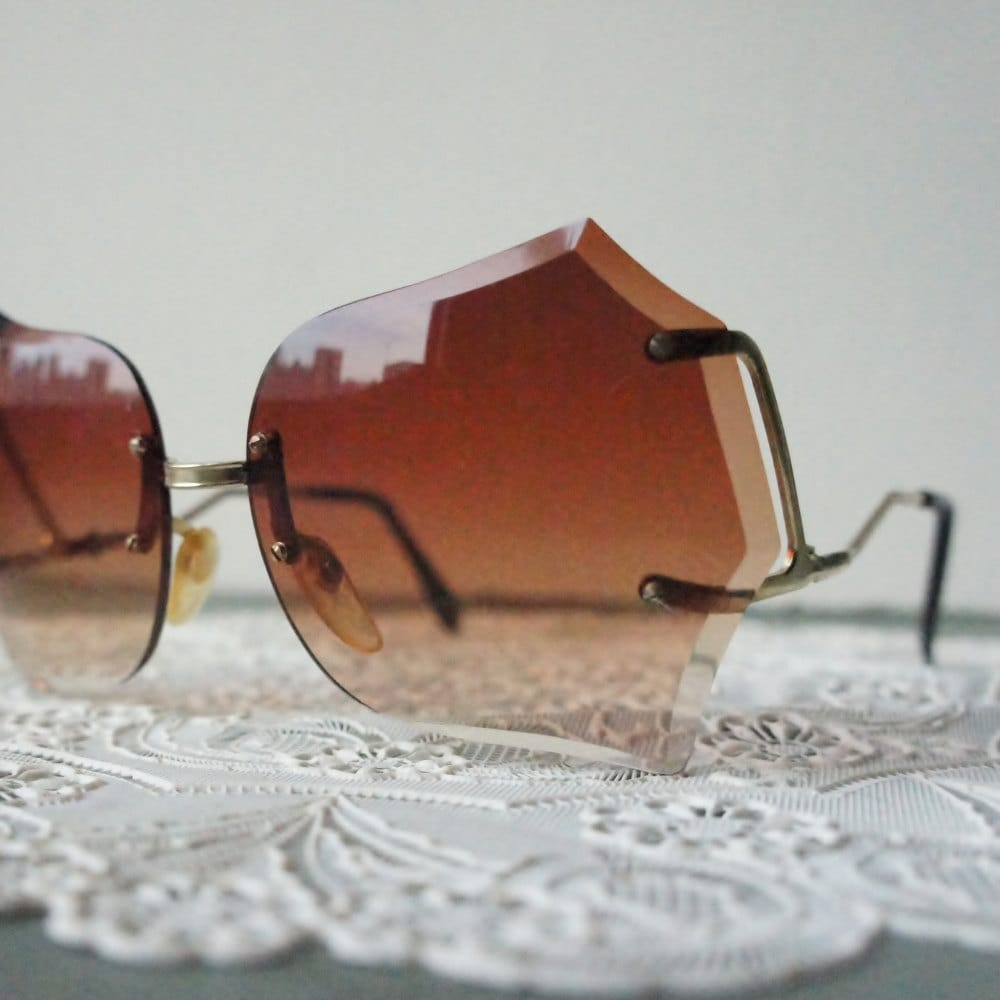 Rimless Granny Shades Vintage 70s Sun Glasses