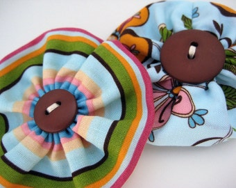 2 Fabric Rosette Pins