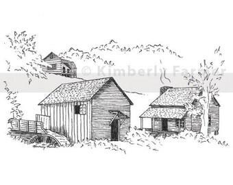 Smoky Mountains Original Drawing