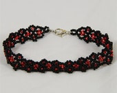 Black and Red Lace Bracelet - Ready to Ship