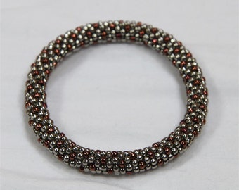 Nickel and Copper Seed Bead Crochet Bangle - Ready to Ship