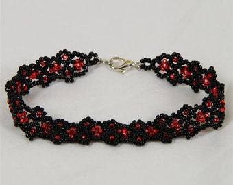 Black and Red Lace Beadwoven Bracelet - Ready to Ship