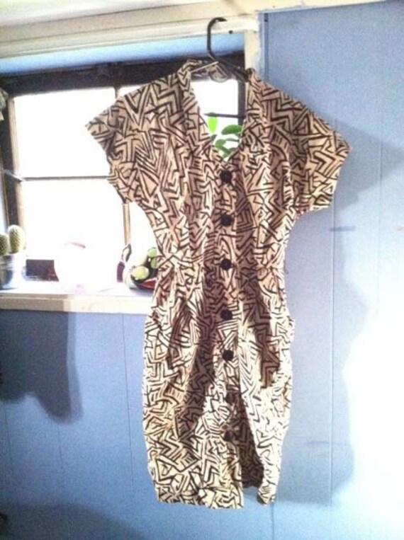 Zig Zag Zebra Cream Abstract Safari Sun Dress (Size 6 7 8)