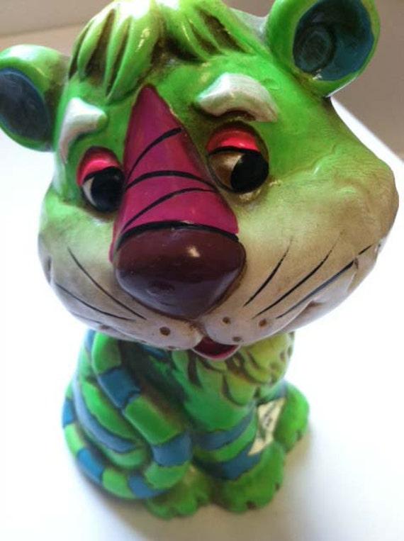 Neon Electric Green Magenta Japan Tiger Beast Piggy Bank