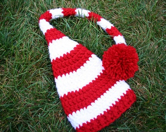 Christmas Elf Hat Stocking Hat, Adult Unisex, red and white stripe, photo prop