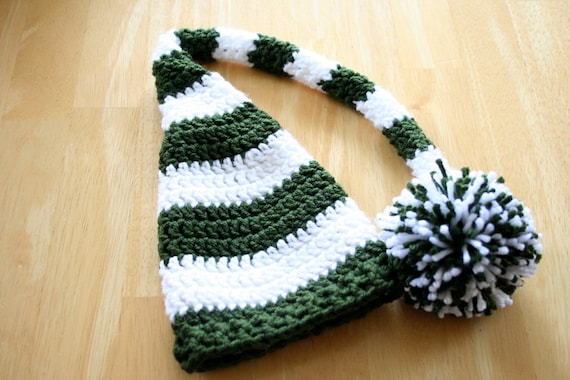 Crochet Elf Hat, Christmas stocking hat, green and white, crochet photo prop, Newborn to 12 Months
