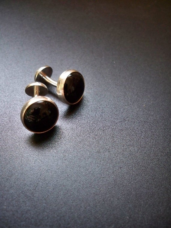 Sterling Silver Black Agate Cufflinks - double-ended push through - Gemstone accessories by Lamazonian