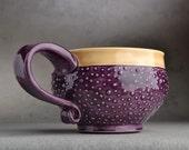 Dottie Mug: Made To Order Royal Purple & Mocha Dottie Soup/Cocoa Mug - symmetricalpottery