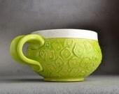 Hip To Be Squares Mug Made To Order Neon Green Slip-trailed Soup/Cocoa Mug