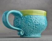 Dottie Mug Made To Order Caribbean Blue Dottie Soup / Cocoa Mug by Symmetrical Pottery