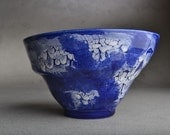 Wheel Thrown Altered Blue and White Bowl by Symmetrical Pottery