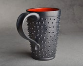 Spiky Mug: Black and Red Tall Dangerously Spiky Mug by Symmetrical Pottery Ready To Ship