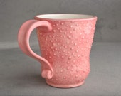 Curvy Dottie Mug: Pink and White Curvy Dottie Mug by Symmetrical Pottery