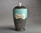 "Dog Treat Jar Ready To Ship ""Treats"" Tahitian Blue Clear Black Dog Treat Jar by Symmetrical Pottery"