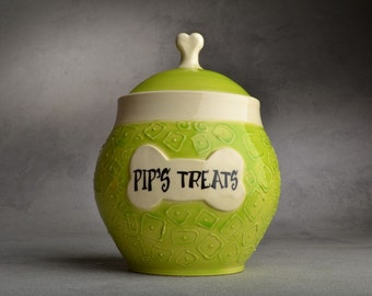 Dog Treat Jar Made To Order Squares Green White Dog Treat Jar by Symmetrical Pottery