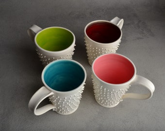 Spiky Mugs Made to Order Dangerously Spiky White Mugs Set of 4 by Symmetrical Pottery