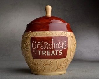 Treat Jar Made To Order Grandma's Treats Jar by Symmetrical Pottery