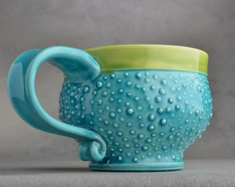 Dottie Mug Made To Order Caribbean Blue Dottie Soup / Cocoa Mug by Symmetrical Pottery