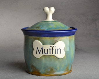 "Dog Treat Jar Made To Order ""Muffin"" Blue and Green Drippy Treat Jar by Symmetrical Pottery"