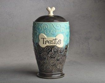 "Dog Treat Jar Made To Order ""Treats"" Tahitian Blue Clear Black Dog Treat Jar by Symmetrical Pottery"