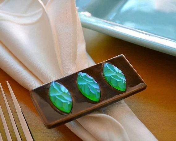Set of Six Jeweled Ceramic Napkin Rings by Symmetrical Pottery