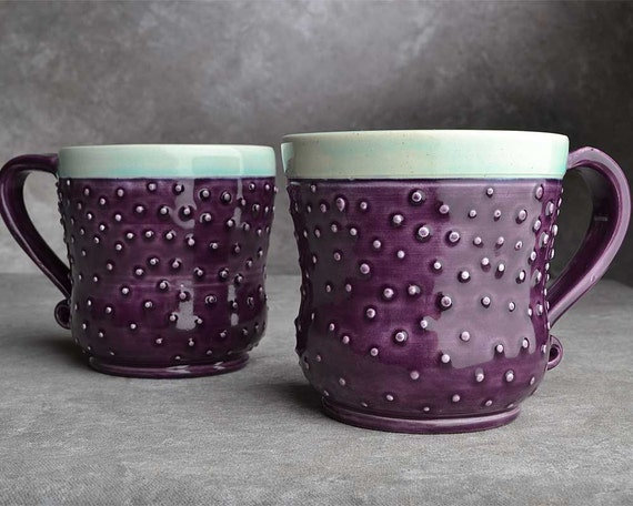 Made To Order Dottie's Twins Set of 2 Purple Curvy Mugs by Symmetrical Pottery