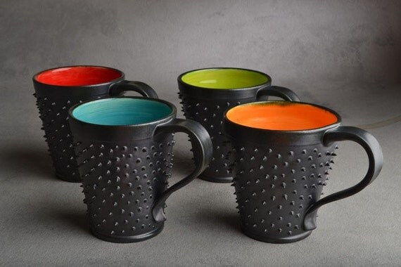 Spiky Mugs: Made To Order Dangerously Spiky Mugs Set of 4 by Symmetrical Pottery