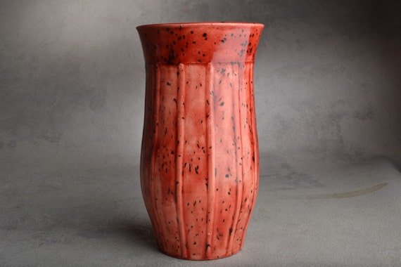 Watermelon Red Wheel Thrown Vase by Symmetrical Pottery Ready To Ship
