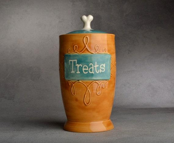 "Dog Treat Jar Ready To Ship ""Treats"" Brown & Blue Slip Trailed Treat Jar by Symmetrical Pottery"