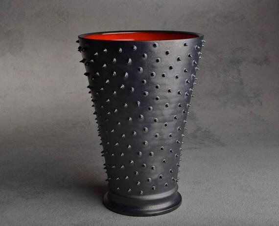 Spiky Vase: Dangerously Spiky Vase with Red Inside by Symmetrical Pottery