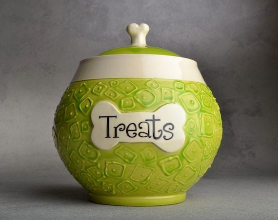 "Treat Jar: ""Treats"" Hip To Be Squares Dog Treat Jar by Symmetrical Pottery"