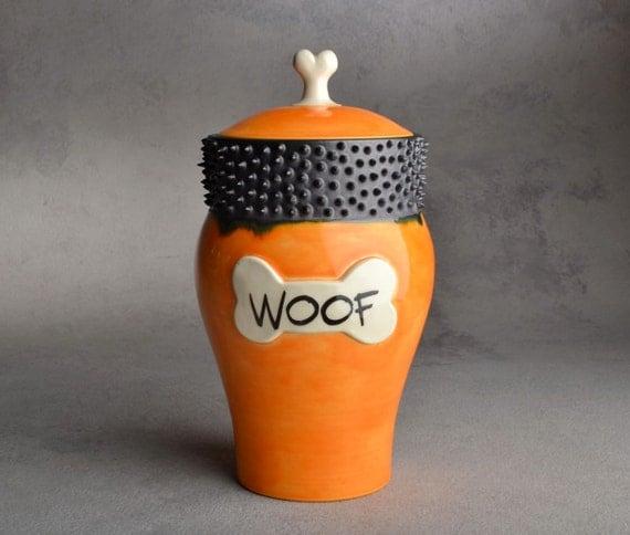 "Dog Treat Jar: ""Woof"" Orange and Black Spiky Collared Treat Jar by Symmetrical Pottery"