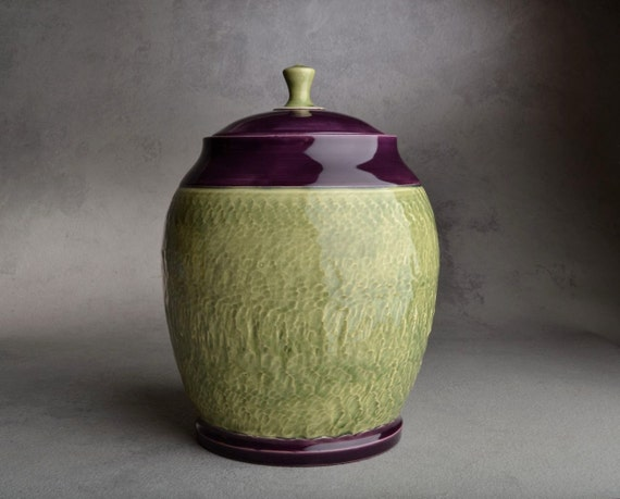 Lidded Jar: Chattered Green Tea and Purple Lidded Jar by Symmetrical Pottery